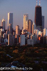 View of Chicago skyline and Lincoln Park
